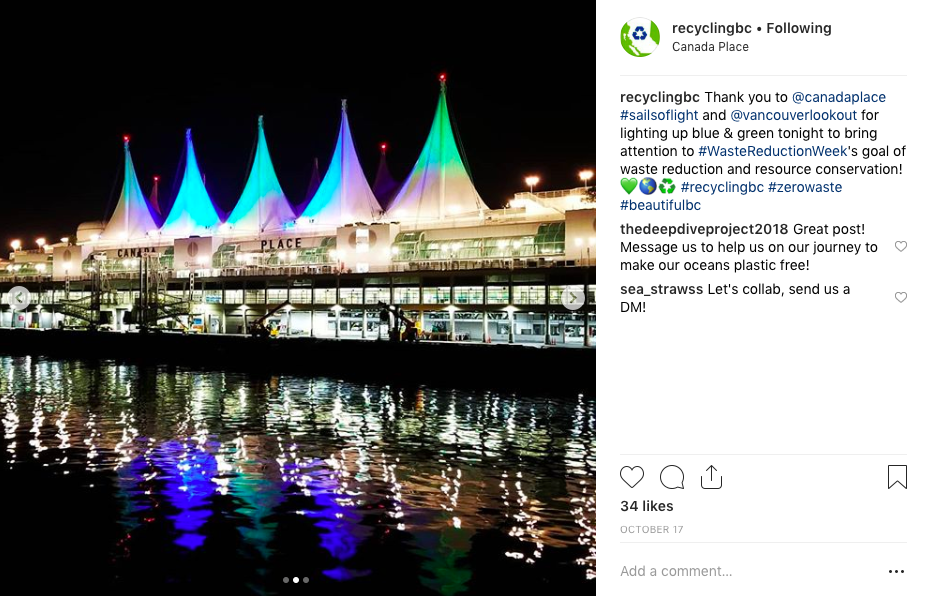 Canada Place lit blue and green for Waste Reduction Week
