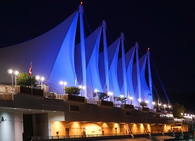 Canada Place lit blue for Waste Reduction Week